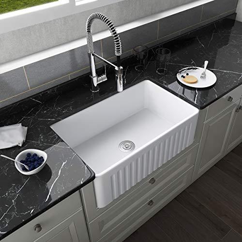 DeerValley DV-1K026 White 30 Inch Farmhouse Kitchen Sink,Ceramic Porcelain Fireclay Deep Single Bowl Farm Kitchen Sinks