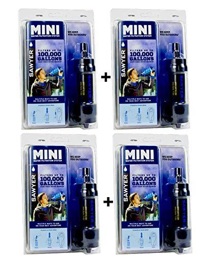 4-er SPARSET Sawyer Mini PointONE Wasserfilter für Outdoor Camping Wasseraufbereitung (4x Schwarz)
