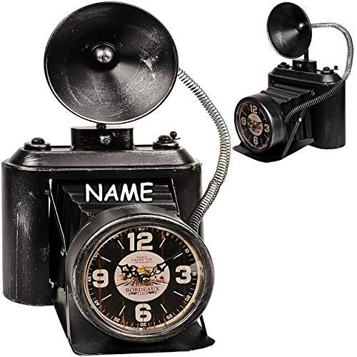 alles-meine.de GmbH große XL Tischuhr - Uhr Foto Kamera / Fotoapparat - inkl. Name - aus Metall - 32 cm - batteriebetrieben - schleichendes Uhrwerk ! - Kamera Anti..