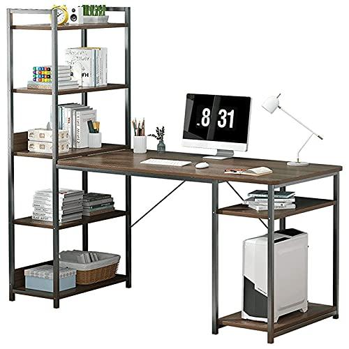 Escritorio de computadora con estantes de almacenamiento Industrial grande de 55 pulgadas Escritorio de oficina en casa Estación de trabajo de mesa de escritura de estudio para la oficina en casa