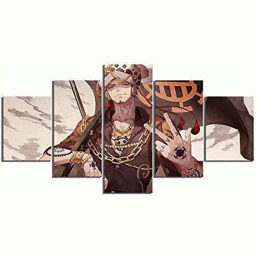 FHSFFS Leinwanddrucke Leinwand Wandkunst Home Decoration 5 Panel Trafalgar Law Einteilige Anime HD-Drucke Poster Malerei Modern Modular Type Boy\'s Room Drucke auf Leinwand