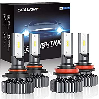 SEALIGHT 9005/HB3 H11/H9/H8 LED Bulbs Combo Super Bright Cool white Plug and Play Pack of 4