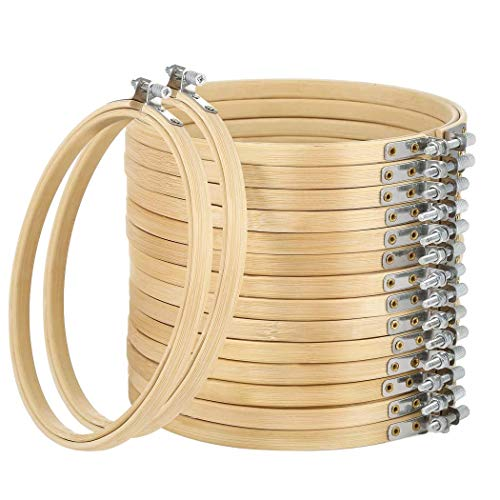 16 Pack 5 inch Mini Bamboo Circle,Embroidery Hoop Cross Stitch Hoop Ring for DIY Art Craft Handy Sewing