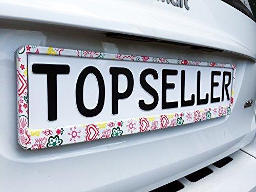 2 x Kennzeichenhalter Nummernschildhalter Blumen Blume Flower Weiß Autozubehör Warenfux24