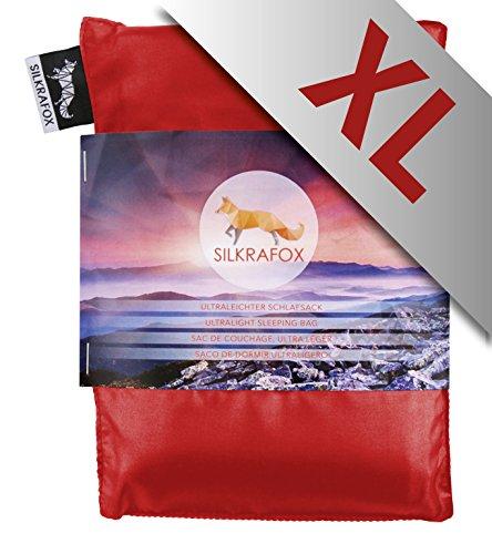 Silkrafox XL - Sacco a Pelo Ultraleggero in Seta Artificiale, Sacco Lenzuolo, Misura Extralarge 95 cm, Rosso
