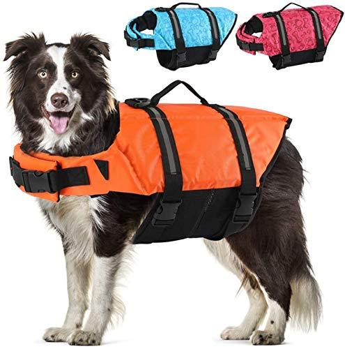 FR&RF Chaleco salvavidas para perro, para natación, barco en la playa con alta flotación para perros pequeños/medianos/grandes, naranja, S