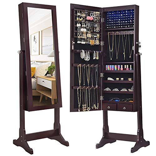 SONGMICS 6 LEDs Mirror Jewelry Cabinet Armoire, Lockable Free Standing Jewelry...