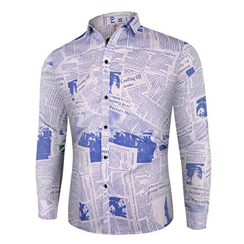 Casual Camisa a Cuadros de Negocios Vestido de Hombre Retro Estampado de periódico Manga Larga Social Hombres Camisa Floral M 3XL Camisa Casual