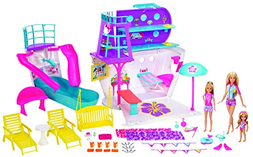 Barbie Cruise - Juego de 3 munecas y 28 accesorios, diseno de barco