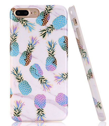 BAISRKE iPhone 7 Plus Case, Marble Creative Design Slim Flexible Soft Silicone Bumper Shockproof Gel TPU Rubber Glossy Skin Cover Case for Apple iPhone 7 Plus 5.5 inch [Colorful Pineapple]