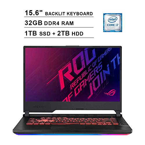 2020 ASUS ROG Strix G 15.6' FHD LED Gaming Laptop Computer, Intel Core i7-9750H, 32GB RAM, 2TB HDD+1TB SSD, Backlit Keyboard, GeForce GTX 1650 Graphics, HDMI, Win 10, Black, 32GB Snow Bell USB Card