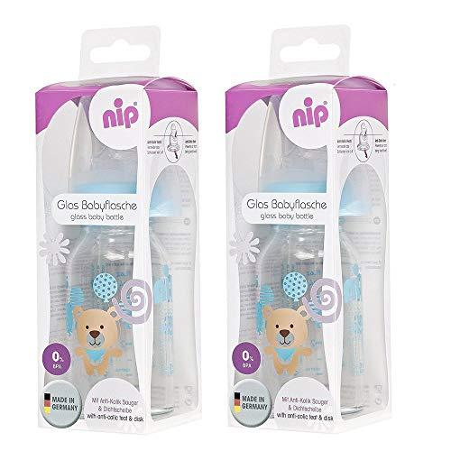 NIP Glas Flasche Boy // 2er Set // Glas-Babyflasche // Standardglasflasche 125 ml // Trinksauger Größe S (Silikon/Tee + Muttermilch/ab 0 Monate) +Nip Schnuller 0-6