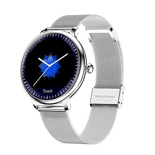Cadena De Reloj Inteligente, Reloj Deportivo A Prueba De Agua IP67 Con Chip Bluetooth, Recordatorio De Información Del Rastreador De Monitoreo De Frecuencia Cardíaca, Reloj Con Cinturón Plateado Dor