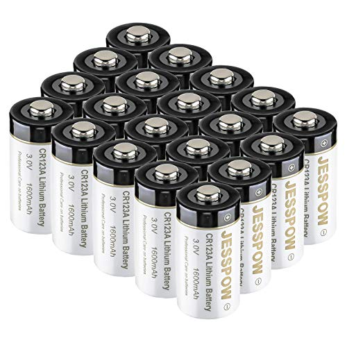 CR123A Lithium Batteries 20 Pack, JESSPOW 3V Lithium Battery 1600mAh for Arlo Cameras, Polaroid, Flashlight, Microphones [CAN NOT BE RECHARGED]