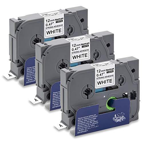 Xemax Compatible Cinta 12mm x 8m Reemplazo para Brother P-Touch Tze-S231 TZ-S231 Negro sobre Blanco Adhesivo Fuerte Casete para PT-1010 PT-P750W PT-D600VP PT-H101C PT-2030VP PT-1000 PT-H105, 3 Pack