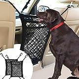 VavoPaw Bolsa de Malla Universal para Asiento de Coche, [2 Piezas] Barrera para Perros con 3 Capas de Almacenamiento, Organizador de Malla Elástica para Proteger la Seguridad de Mascotas – Negro