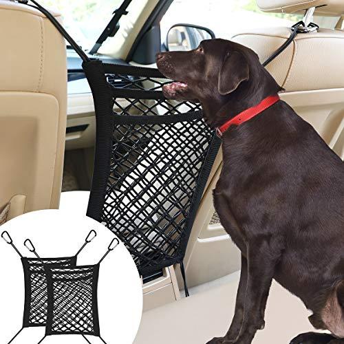 VavoPaw Rete Auto per Cani Universale 2 Pezzi, Separatore per Animali Domestici Barriera Divisoria per Veicolo Sedili Rete di Maglia per Sicurezza Portabile Regolabile Supporto per Borsa Libri - Nero