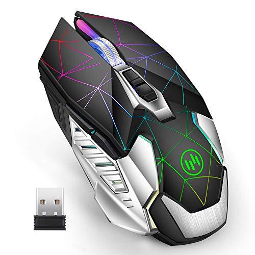 Coener T10 Mouse Gaming Wireless, 2.4G Mouse da Gioco con 3 DPI Regolabile,7 Colori LED Light per PC Laptop Notebook Gamer (Nero)