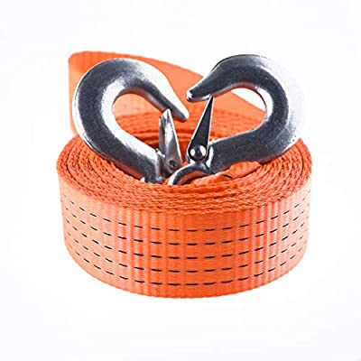 Tow Strap with Two Safety Hooks 2''X13ft 10000LB Maximum Break Strength Off-Road Recovery Strap Polyester Winch Strap with Hooks for Vehicle Jeep Truck Emergency Use