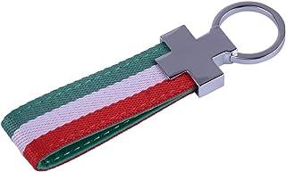 beler Italien Schlüsselband Schlüsselanhänger Schlüsselanhänger PU Leder Italienische Flagge
