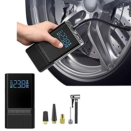 FUMENG COMPRESOR DE Aire Portátil del Inflador de Neumático Mini COMPRESOR DE Mano ELÉCTRICO 5200mAh con Pantalla LCD Digital LED