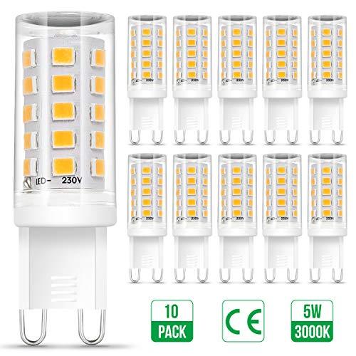 G9 LED Warmweiss, Otour 10er 5W G9 LED Lampe ersetzt 50W Halogenlampe, 3000K Warmweiß 500Lumen, kein Flackern, 360° Abstrahlwinkel Spot, AC 220-240V, G9 Leuchtmittel Birne, nicht Dimmbar