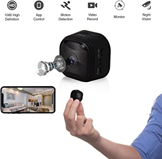 WiFi Mini Hidden Camera Spy Camera with App, 1080P HD, 150°Wide-Angle Lens, Video Camera, Square Round, Covert Nanny Cam, Motion Detection, Night Vision, Security Surveillance Cameras (Black,2019)