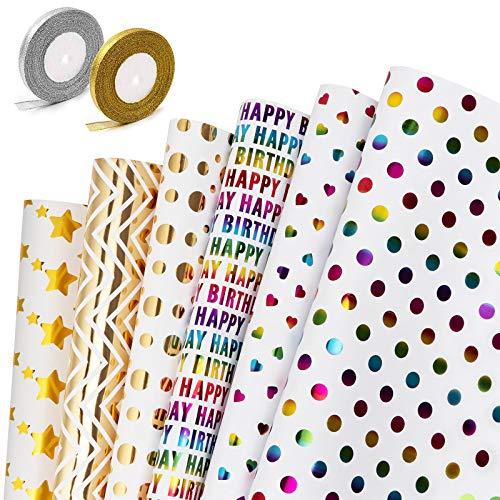 GuKKK Papier Cadeau, 6 Feuilles De Papier d'emballage Cadeau et 2 Rouleaux de Ruban, Papier Cadeau Rouleau Anniversaire, pour Anniversaire, Noël, Vacances, Mariage, Cadeau de Naissance-70 CM x 50 CM