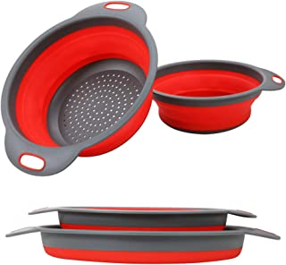 Collapsible Colander, 2 Collapsible Set, Learja Food-Grade Silicone kitchen Strainer Space-Saver Folding Strainer Colander, Sizes 8 inches - 2 Quart, and 9.5 inches - 3 quart. (red)