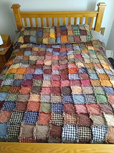 Queen size Patchwork Rag Quilt, Primitive Homespun fabric, Made to Order, Reversible, shams NOT included
