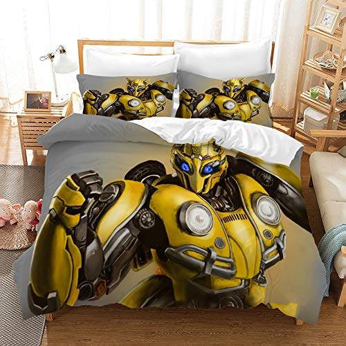 3D Transformers Bumblebee Optimus Prime Duvet Cover Set for Boys Marvel Heroes Soft Microfiber Bed Set Including 1Duvet Cover,2Pillowcases Queen Size