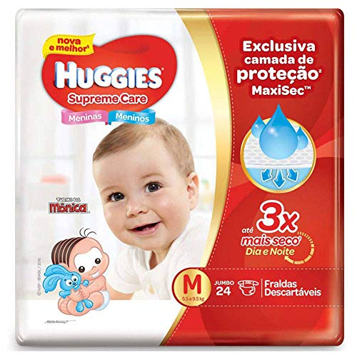 Fralda Huggies Supreme Care M - 24 fraldas, Huggies, Vermelha, M