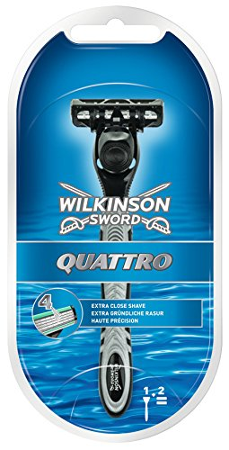 Wilkinson Sword Quattro Herren Rasierer mit 2 Rasierklingen, 1 St