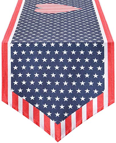 Smurfs Yingda Independence Day Table Runner, 4th of July Hearts Table Runner, Cotton Table Runner for Summer Parties, Catering Events, Daily Use, 14 × 70 inches