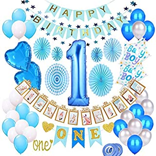 1st Birthday Boy Decorations Kit, Baby Boy 1st Birthday Decorations Prince Theme Party Pack, High Chair Banner, 12 Month Photo Banner, Happy Birthday Banner, Blue and White Balloons, Paper Fans