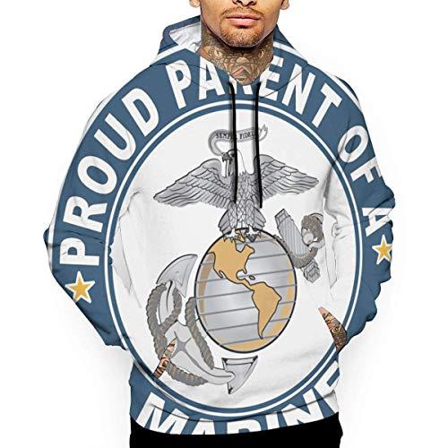 Ksiwre Sudadera con Capucha Proud Parent of A Marine Men's 3D Pullover,Long Sleeve Hoodies,Sweatshirt Tops