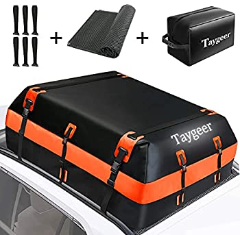 Taygeer Rooftop Cargo Carrier 21 Cubic Feet Soft-Shell Waterproof Roof Top Luggage Carrier Roofbag for All Cars  Side Rails/Cross Bars/No Rack  with Storage Bag and Protective Mat