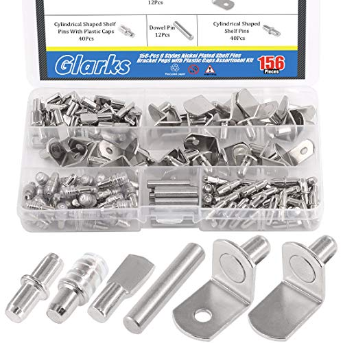Glarks 156Pcs 6 Styles Shelf Pins Kit, Nickel Shelf Support Pegs, PVC Shelf Pins, Flat Spoon Pegs, Cylindrical Pins Holder, L-Shaped Bracket and Dowel Pins for Cabinets