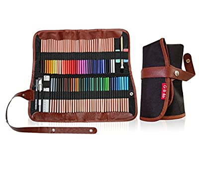 Colored Pencil case 72 slots, coloured Pencils wrap -Pouch for travel- Art supplies organizer for adult coloring books, 4-in-1 pen bag holder for school-Bonus Free Ebook -(PENCILS NOT INCLUDED)