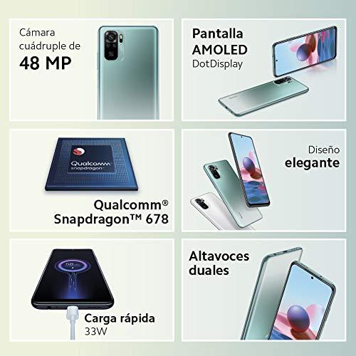 """Xiaomi Redmi Note 10 - Smartphone 4+128GB, 6,43"""" AMOLED DotDisplay, Snapdragon 678, 48MP Quad Camera, 5000mAh, Pebble White (Versione Italiana + 2 Anni di Garanzia)"""