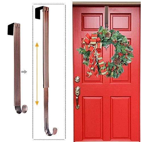 LBSUN Wreath Hanger, Adjustable Over The Door Wreath Hanger Wreath Holder Wreath Hook for Door Christmas (Bronze,20 lbs)