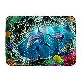 kThrones Alfombra de baño Alfombra 3D Underwater World Vivid Whale Coral Nemo,Alfombras de Felpa para decoración de baño con Respaldo Antideslizante(75x45cm)