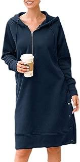 Macondoo Womens Long Sleeve Dress Blouse Hoodies Solid Zip Sweatshirts