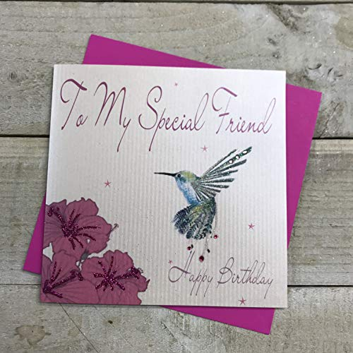 White Cotton Cards To My Special Friend Happy Handmade Birthday Card Hummingbird, WB201