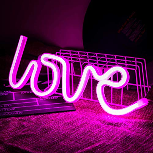 Gneric Dharm_Creation Love Sign Neon LED Night Light for Room, Table Decoration, Gifts (Pink)