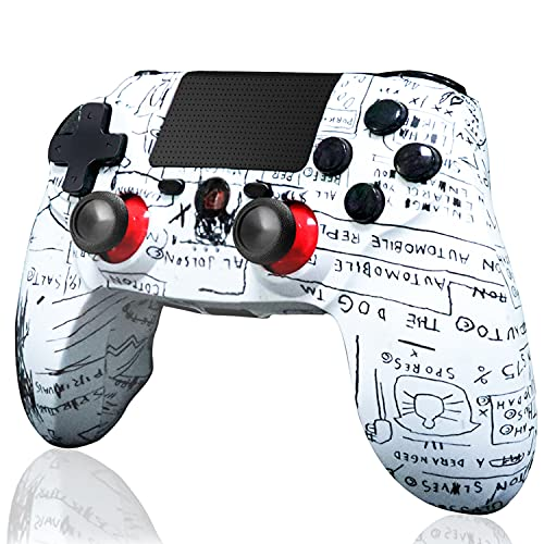 BMSARE Mando PS4 Inalámbrico, Bluetooth Inalámbrico Game Mandos Gamepad Joystick para PS4 Pro/Slim con 6 Axis Gyro Sensor y Dual Shock Vibración, Audio Micrófono y...
