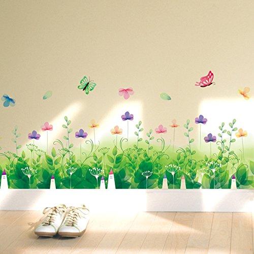 mznm grün pea Blumen Bordüre Aufkleber Home Zimmer Restaurant Herd Wandtattoo vagatable Pflanzen Baseboard Wand Aufkleber
