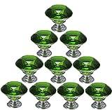 Verde 10x Cristal Perillas de Gabinete 30mm Vaso Perillas de las Puertas Alacena Manija del Gabinete Tirador del Cajón con Tornillo por SamGreatWorld