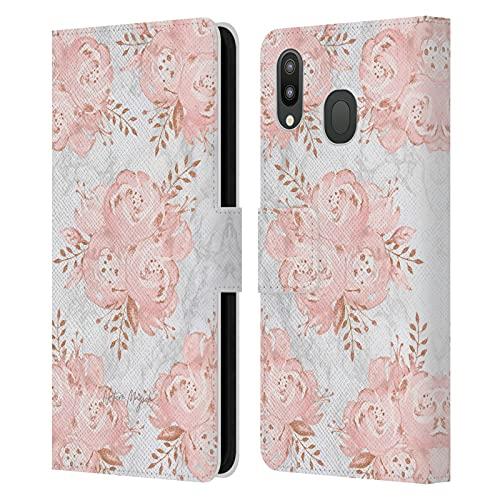 Head Case Designs Licenza Ufficiale Nature Magick Rosa Oro Fiori Fucsia Brillantini Fiori su Marmoreo Cover in Pelle a Portafoglio Compatibile con Samsung Galaxy M20 (2019)