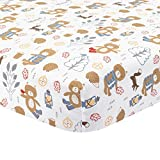Lambs & Ivy(R) Little Campers White Fitted Crib Sheet